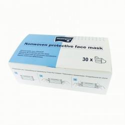 Maseczki ochronne na twarz, trzywarstwowe, z innowacyjnym systemem uchwytów 30 szt.