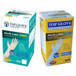 Rękawiczki lateksowe chirurgiczne Top Glove, bezpudrowe jednorazowe 100 szt.